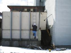 まつばら源泉50トン貯湯タンク倒壊